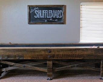 Shuffleboard Table, Shuffleboard, Shuffle Board, Games, Game Room, Man Cave, Rustic Shuffleboard Table