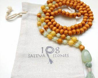 Argenite, Jade, & Wood Mala