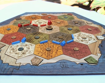 Settlers of Catan Custom Board   Heirloom Tabletop Game   Wood, Laser Cut    Thinking Monk