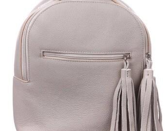 Carry all Bag/Leather backpack/ Women leather backpack /Leather travel bag/Gift Idea for Women/ Handbag/ Womens Rucksack/ Beige backpacks