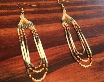 white brown yellow green and gold brick stitch native american hanging earrings