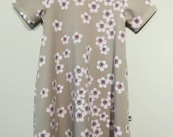 Dipped Hem floaty T-Shirt Dress 'Cherry Blossom' - 5-6y