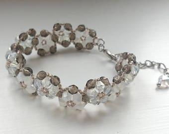 White Flowers Bracelet with Czech Fire Polished Beads