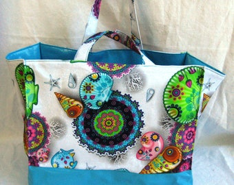 Tote bag for the beach format family shell pattern