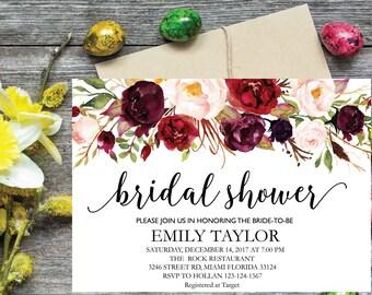 Bridal Shower Invitation, Printable Bridal Shower, Boho Bridal Shower, Instant Digital Download File, Flower Bridal, Bridal Shower Signs 5