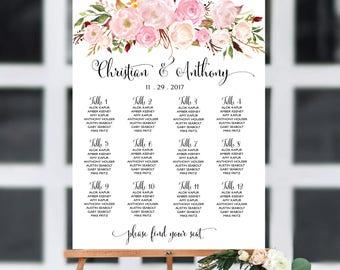 Wedding seating chart template, Wedding seating chart, Boho wedding seating chart, Wedding seating chart alphabet, Navy Seating chart, SC95
