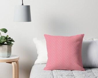 Chevron cushion, Pink chevron cushion, pink throw pillow, Scandinavian chevron, modern cushion, pink bedroom decor, chevron throw pillow