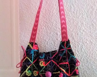 handbag wool and leatherette 34 X 30 CM
