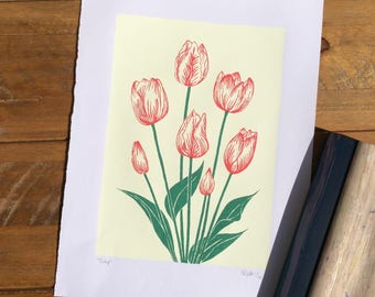 Tulips Screen Print A3. Hand-pulled. Original Design.