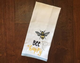 Bee Happy //  Embroidered Bumblebee Kitchen Towel