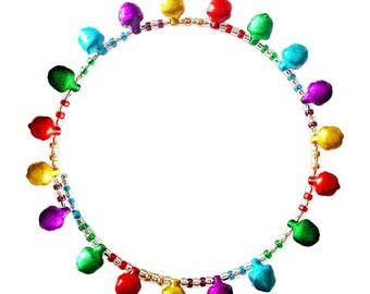 Colorful jingling jingle bells open bracelet, small glass beads, thin beaded bangle on memory wire