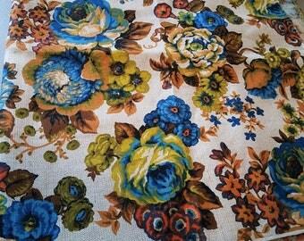 Vintage Burlap Floral Fabric - 1960s Large Flower Print - Vibrant Colors - Blue Green Orange