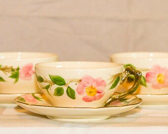 Vintage Franciscan Ware Desert Rose 3 Coffee/Tea Cups & Saucers, Set of 6 pcs, Earthenware, USA Made Califorinia