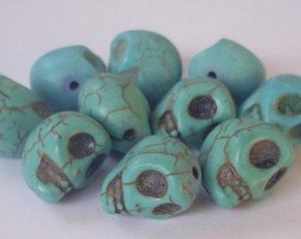 10 skull beads 13 x 9 mm - turquoise howlite