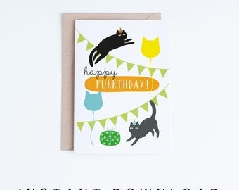 Printable Birthday Cards, Cat Purrthday Card Instant Download, Black Cat Illustration, For Her, For Him, For Friend, Cat Lovers, Grey Cat