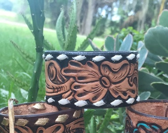 Black and Tan tooled cuff