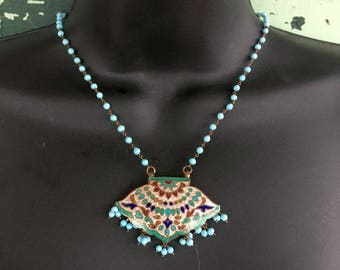 Indian Lac Enamel Necklace with Turquoise Beads, Excellent Condition, Vintage