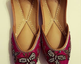 Pink Butterfly Titli Punjabi Juttis Khussas Ballerinas shoes flats bridal party wear gypsy boho