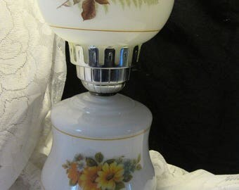 White Glass with Flower Transfer Electric Hurricane Table Lamp