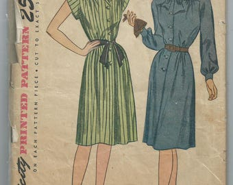 Vintage 1940s sewing pattern Simplicity 1556 shirt dress size 12