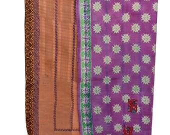 Reversible Cotton Kantha Quilt Sari Throw Bed Cover Blanket Vintage Handmade Cotton Kantha Quilt