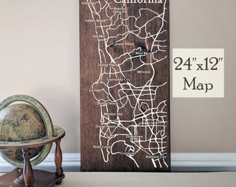 San Diego Map Wall Art, Large Wooden Map, San Diego Map Art, Wooden Street Map, Custom Painted Map, House Address Map by Novel Maps