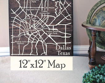 Dallas Map, Large Wood Map, Dallas City Map, Dallas Wall Art, Custom Wood Sign, Custom Gift, Personalized Map, Custom City Map by Novel Maps