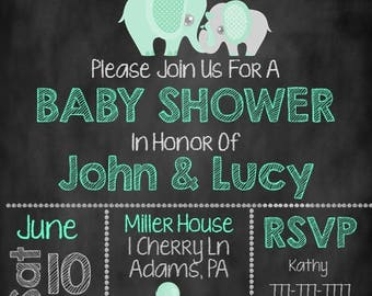 Elephant Baby Shower Invite, Mint Elephant Baby Shower, Baby Shower Invite