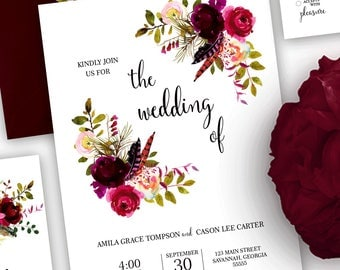 Boho Wedding Invitation, Floral Wedding Invitation, Wedding Invitation