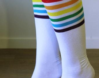 Woman's socks, Long socks, Cotton socks, Rainbow socks, Fun socks