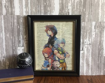 KINGDOM HEARTS color Illustration, Disney ~ Video Game Character ~ print art on 8x10 upcycled dictionary page