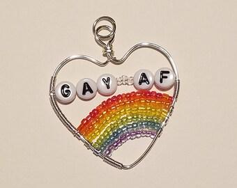 Gay AF Heart Pendant!