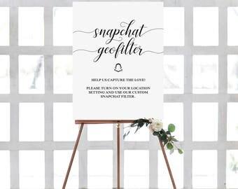 Printable Wedding Sign, Wedding Snapchat Geofilter Sign, Printable Snapchat Filter Sign, Snapchat Geofilter Instructions Sign, Printable art