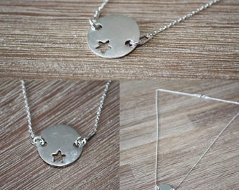 Star necklace on chain link sterling silver 40 cm