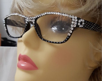 Glamour Swarovski adorned Reading Glasses - Pretty Black Polka Dot with case