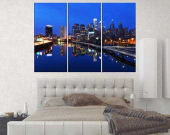 Large wall art canvas framed, Ben Franklin bridge canvas print, office decor gift, 3 pieces Philadelphia skyline art print, s378