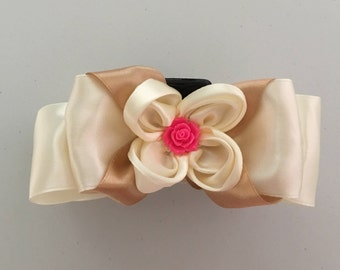 Kanzashi Bow Claw Hair Clip, Flower Bow Kanzashi Claw Hair Accessories