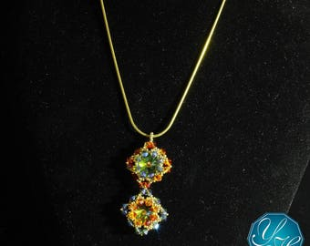 Sandra - Green-Topaz Blend, Fireopal & Blue colors Swarovski Crystals Handmade Necklace