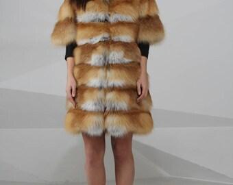 Vest of fox fur, whole skins, real fur vest, fur vest, fox fur vest, red fox vest, red fox, fox vest