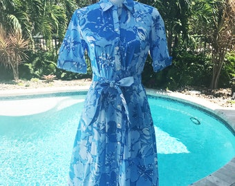 J. McLaughlin Blue Flowered Belted Dress/ Size SMALL