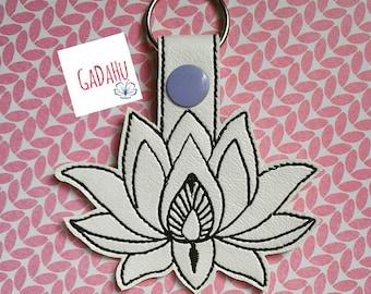 Lotus Flower Key Fob Snap Tab Embroidery Design 4X4 size. Fashion Girl