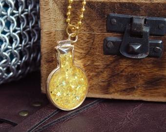 Glitter Resin Gold Potion Necklace