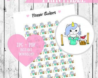 Laundry Stickers, Printable Planner Stickers, Unicorn stickers, Washing stickers, Chore printable stickers, Kawaii laundry stickers
