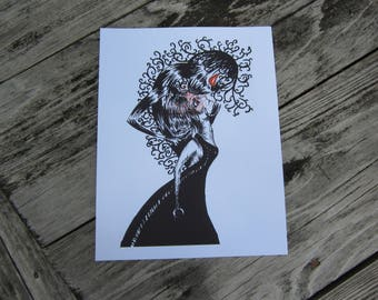 "Gothic Ink Drawing Art Print ""Temptation"""
