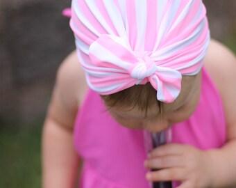Pink Striped Swim Turban
