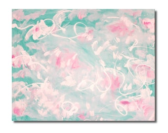 Blue and Pink Painting Abstract Clouds Original Large Peaceful Painting Calm Canvas Art for Home Decor by Columba Fall