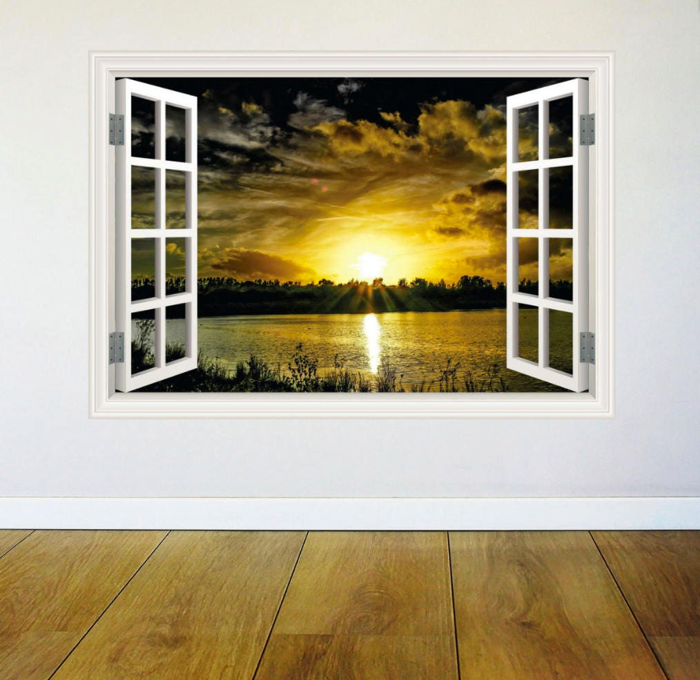 Full Multi Colour Sunset Paradise Window Wall Art Sticker Decal ...