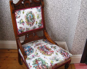 Carved Victorian Nursing Chair, Traditionally Upholstered using JEAN PAUL GAULTIER Lelievre Fabric