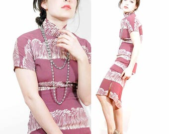1930s rayon Chinoserie Dress RARE linear wheat / cattail print Xs S Deco Asian  1930s Body Con MINT
