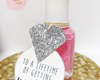 SET OF-Getting nailed tags- Nail polish tags- wedding favor tags- bridal shower tags
